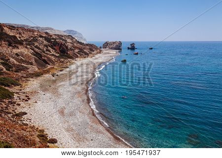 Panoramic Landscape Petra Tou Romiou (the Rock Of The Greek), Aphrodite's Legendary Birthplace In Pa
