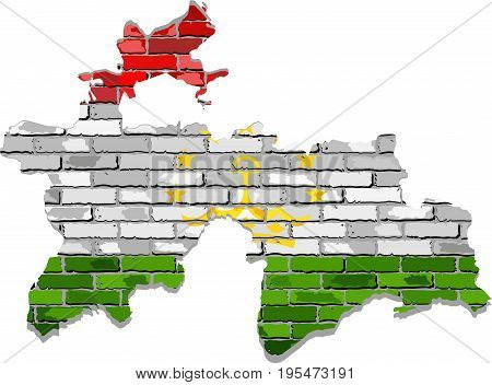 Tajikistan map on a brick wall - Illustration,   Tajikistan map with flag inside