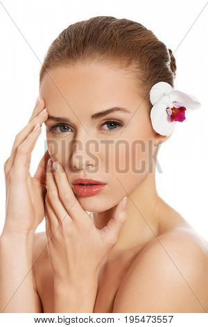 Beauty woman portrait. Beautiful model girl with perfect fresh clean skin. Body care concept