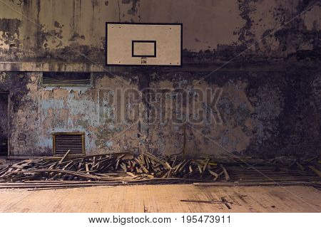 Abandoned Basketball Court in Ghost Town of Pripyat