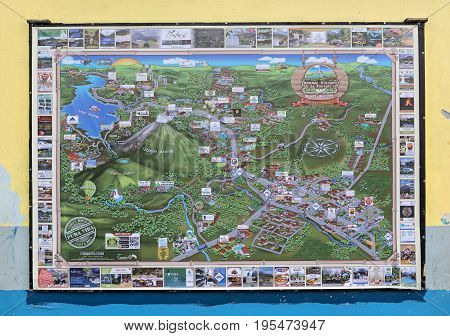 LA FORTUNA, COSTA RICA - MARCH 06, 2017: City map of the surroundings of la fortuna in la fortuna, costa rica