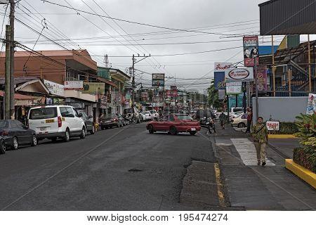 LA FORTUNA, COSTA RICA - MARCH 06, 2017: A street in la fortuna, costa rica