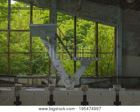 Abandoned Swimming Pool in Ghost City of Pripyat withing Chernobyl Exclusion Zone