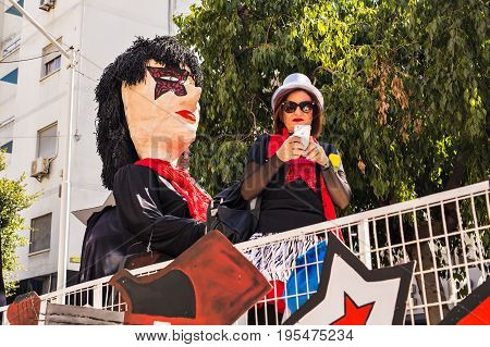 Big funny dolls in Cyprus carnival parade, February 26, 2017 in Limassol, Cyprus.