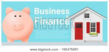 Business and Finance concept background with small house and piggy bank , vector , illustration