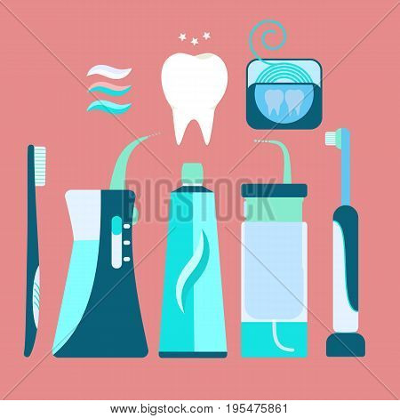 Flat vector blue brush teeth equipment including electric toothbrush toothpaste handle irrigator floss