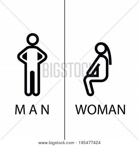 wc icon - toilet sign in pure funny style - toilet door vector symbol