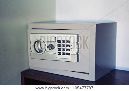 Security metal safe with empty space inside open