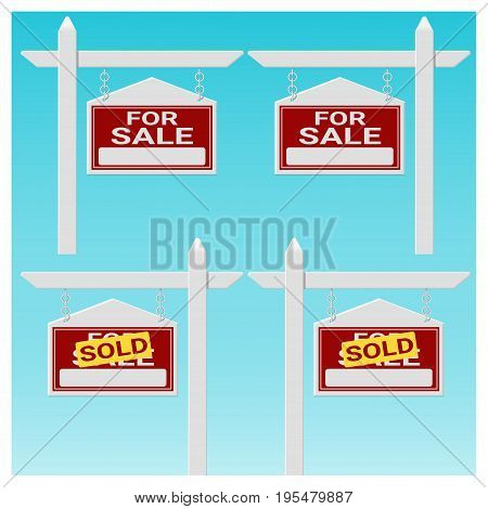 Set of House for sale sign , vector , illustration