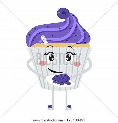 Funny cupcake face. A blueberry muffin. Cake isolated on white background. Vector.