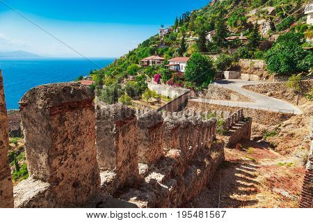 Beautiful Sea Landscape Of Alanya Castle In Antalya District, Turkey, Asia. Famous Tourist Destinati