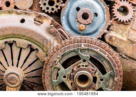 Rusty Gears And Other Components Of Industrial Machine