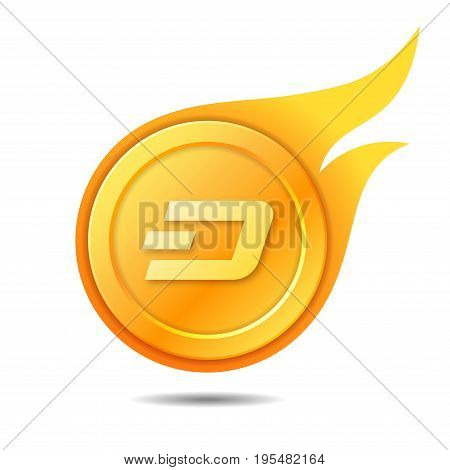 Flaming dash coin symbol icon sign emblem. Vector illustration.