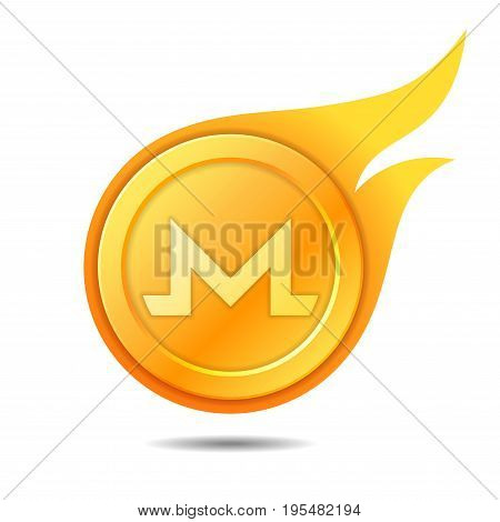 Flaming monero coin symbol icon sign emblem. Vector illustration.