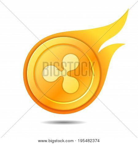 Flaming ripple coin symbol icon sign emblem. Vector illustration.