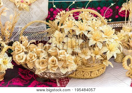 straw flowers in basket, plaiting , handmade