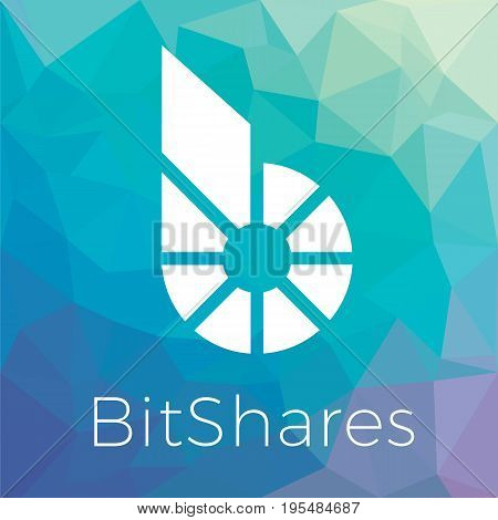 Bitshares (BTS) cripto currency blockchain flat logo a colored triangular background. Block chain coin sticker for web or print.