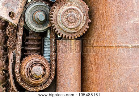 Corroded Gear Wheels And Other Parts Of Old Machine