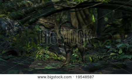 tyrannosaurus in jungle poster