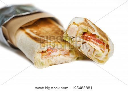 Beef shawarma or kebab wrap with vegetables