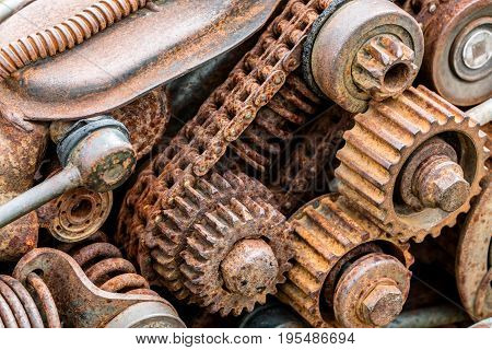 Parts Of Old Broken Machine Under Corrosion