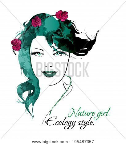 Sketch. Nature Girl. Ecology Style. Beauty Girl Face On A White Background
