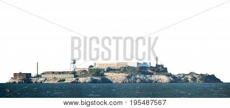 Isolated Alcatraz Prison Island In San Francisco On A White Background