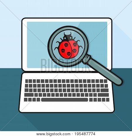 The virus in the form of ladybug is found on the laptop with a magnifying glass