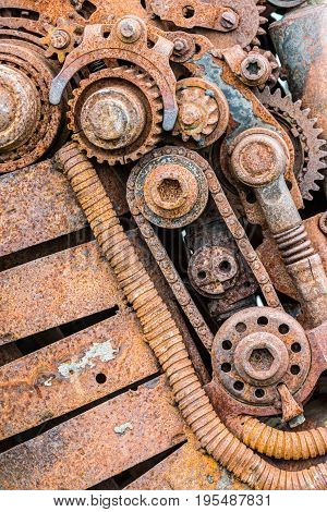 Corroded Worn Out Details Of Old Industrial Equipment