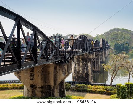 Kanchanaburi Thailand- March 04 2017: The historic bridge on the river Kwai which was built by the Allied prisoners of war under the captivity of Japanese army during the World War II.