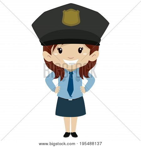 Vector Illustration of Little Girl wearing a Police uniform Hands on waist