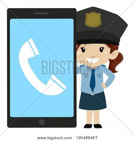 Vector Illustration of Little Girl Police beside a Big Screen Mobile Phone