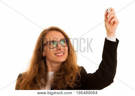 Young Business Woman Writting With Marker On A Transparent Board