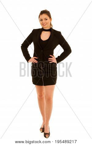 Full Lenght Photo Of  Woman In Short Skirt Isolated Over White Ackground