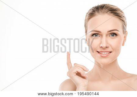 Mature female beauty health care studiio portrait solution