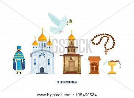 Orthodox christianity. Christian cross, beautiful church, chapel, pigeon with branch, priest in traditional vestment - cassock. Faith in God, Christianity, Orthodoxy. Vector illustration isolated.