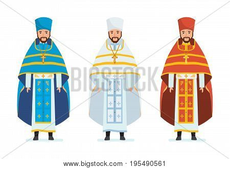 Religious priests, in spiritual robes, cassocks. Orthodox christianity. Vestments: for Passover, Mother of God Feasts, Nativity of Christ, Epiphany, Ascension Illustration in cartoon style