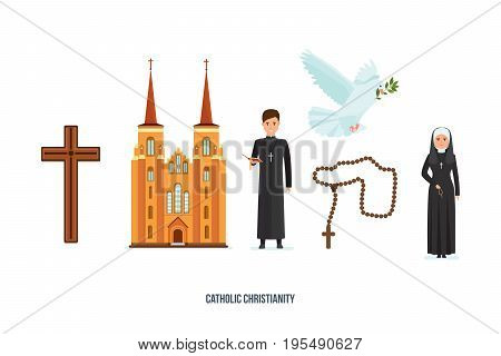 Concept of catholic christianity. Catholic cross, cathedral, priest and nun, rosary, pigeon with branch, symbols of deity. Faith in God, Christianity, Orthodoxy. Vector illustration in cartoon style.