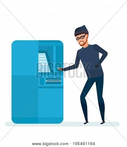 Thief, a robber, a criminal, hacks the software and the payment terminal system in the bank building. Thief of abduction of finance funds and data. Vector illustration isolated in cartoon style.