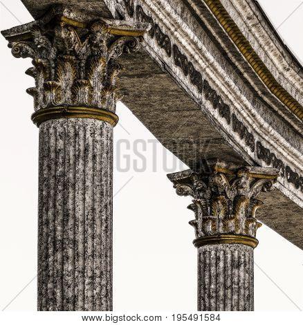 Column, closeup fragment of a column, chapiter, two columns
