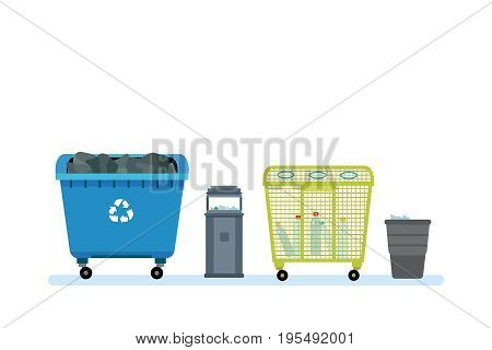 Cleaning city. Household waste, recycling. Different kinds of garbage cans and containers, for various types of garbage and their further processing. Vector illustration on white background.