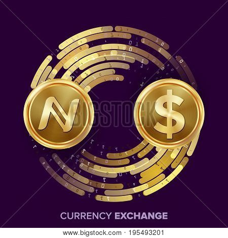 Digital Currency Money Exchange Vector. Namecoin, Dollar. Fintech Blockchain. Gold Coins With Digital Stream. Cryptography. Conversion Commercial Operation. Business Investment