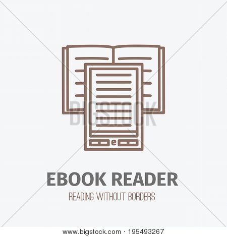 Illustration of thin lined ebook reader. Vector isolated outlined logo sign of digital book in front view.