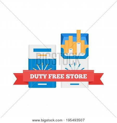 Vector flat icon of cigarette packs in Duty Free shop at airport. Isolated on white background illustration of different cigarette goods for tax free airport shopping.
