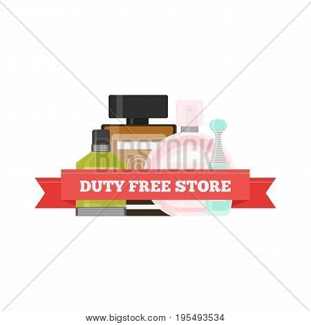 Vector flat icon of perfume in Duty Free shop at airport. Isolated illustration of different fragrance bottles for tax free airport shopping.