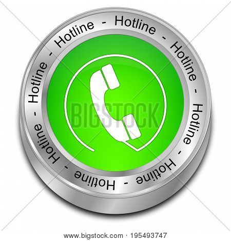 light green Hotline Button - 3D illustration