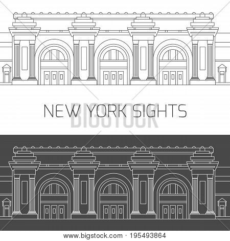 New York sights. Vector attractions of New York city in thin line icon style in black and white for design of tourist guide, brochure or banner - Metropolitan Museum of Art.