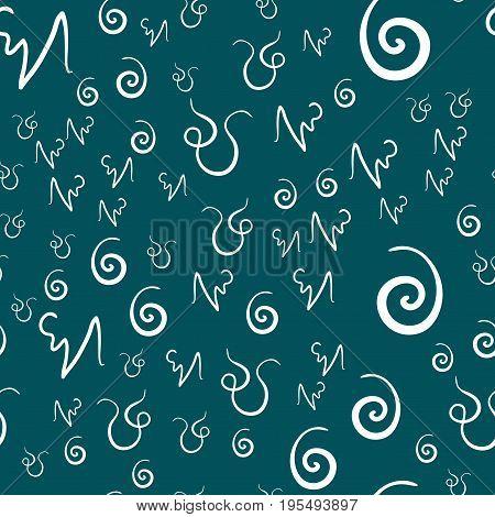 Twirls of white color Randome Pattern Print on Green