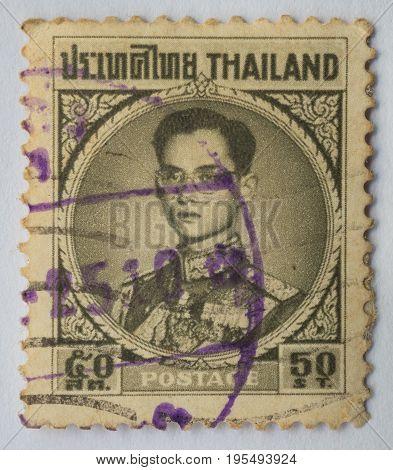THAILAND - CIRCA 1914: A stamp printed in Thailand shows King Bhumibol Adulyadej prince of Siam circa 1963 50 satang