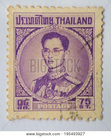 THAILAND - CIRCA 1914: A stamp printed in Thailand shows King Bhumibol Adulyadej prince of Siam circa 1963 75 satang